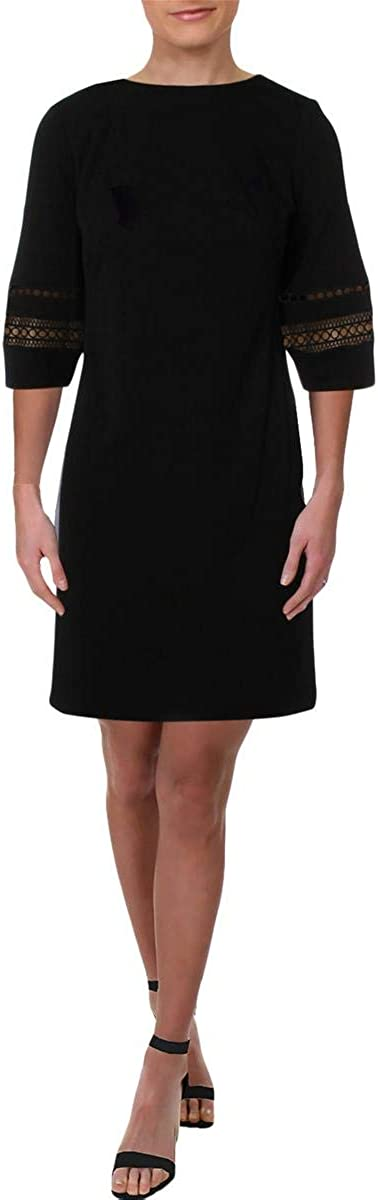 Lauren by Ralph Lauren Women's Lace Trim Bubble-Sleeve Shift Dress (4, Black)