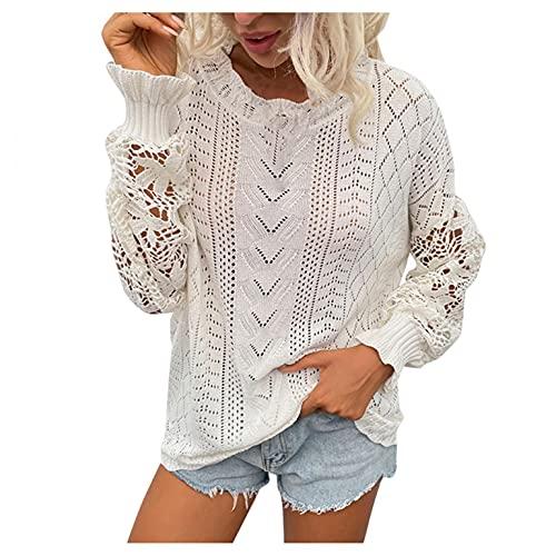 SHIZUANYUE - Jersey para mujer con cuello en V, corte ajustado, camiseta de manga larga, suter para otoo e invierno con botones, tnica de gran tamao, blusa suelta con encaje, Blanco, XL