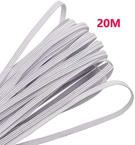Cinta elástica plana de 3 mm, 20 m, banda elástica plana, rollo de cuerda elástica trenzada para coser y manualidades
