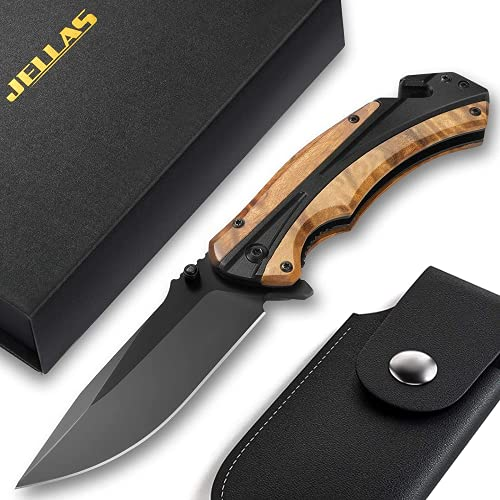 Jellas Pocket Folding Knife for Men with Figured Wood Handle - Tactical Knife with Safety Liner Lock for Camping Hunting Survival Indoor and Outdoor, Best Unique Gift for Men and Women KN05