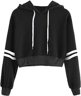 Bestwo Women's Stripe Crop Top Long Sleeve Drawstring Pullover Hoodie Sweatshirt