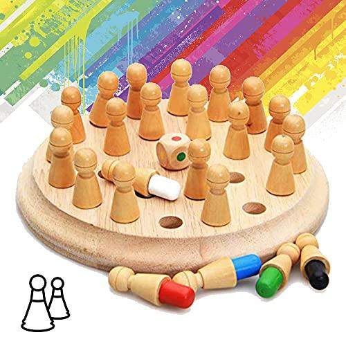 Juego de Ajedrez, Juego de Ajedrez de Madera Memory Stick, Juego de Ajedrez para Niños, Juegos Inteligentes Educativos para Niños de Block Board