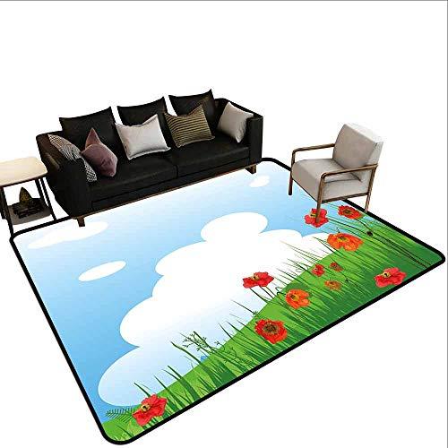 MsShe groot tapijt papaver, Abstract Pastorale landschap met gras bloeiende Flora en vliegende vlinder, zalm zwart wit