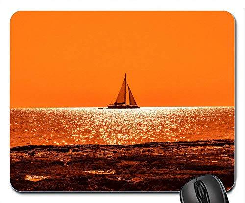 Boot Sunset Dusk Seashore Horizon Orange 10799 Quadratisches Mauspad Gaming Mouse mat