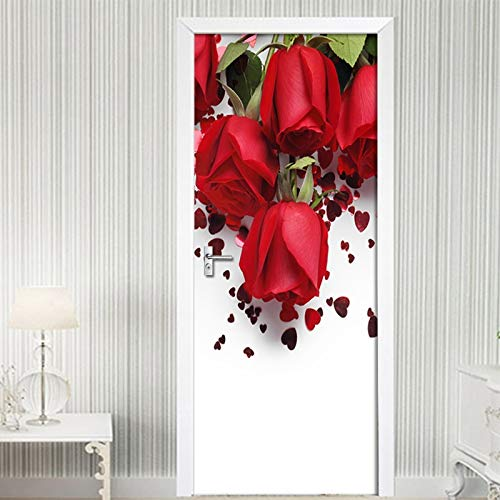Moderno Rojo Rosa Flor Puerta 3D Pegatinas Mural PVC Autoadhesivo Papel Pintado Impermeable Sala De Estar Dormitorio Puerta Decoración Calcomanía Cartel