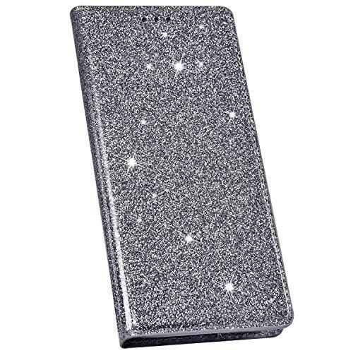 Ysimee Compatible avec Coque iPhone X/XS Mode Glitter Housse en Cuir Coque à Rabat Portefeuille Aimant à Enfiler avec Emplacement pour Cartes de Crédit et Fonction Béquille,Gris