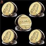SHthree 5 Unids/Lote 1494-1498 Pinturas de Leonardo Da Vinci Última Cena Jesús Avatar Chapado en Oro 999 Copia Recuerdo Colección de Monedas