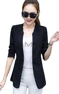 maweisong レディーススリムフィットカジュアルワークブレザーワンボタンスーツジャケット