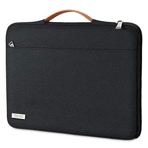 TECOOL 13' 13.3-13.5 Pulgadas Funda Ordenador Portátil MacBook Pro/Air 13, 13,5 Surface Laptop 3/2, Huawei MateBook D 14, ASUS Zenbook/Vivobook 14 Bolsa Blanda con Manija Retráctil, Negro