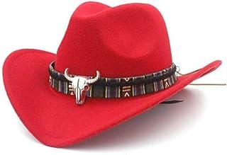 0e0a675f43e Forart Mens Womens Wool Felt Western Cowboy Hat Outdoor Wide Brim Hat Caps  with Strap