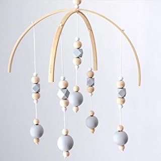 ISHOWDEAL Bed Bell for Baby, Nordic Style Wooden Wind Chime Handicraft Wind Bell Decoration Bed Bell Toy Wooden Hanging Baby Toys for Rattle Toy Children's Room Decoration Baby Photography Props