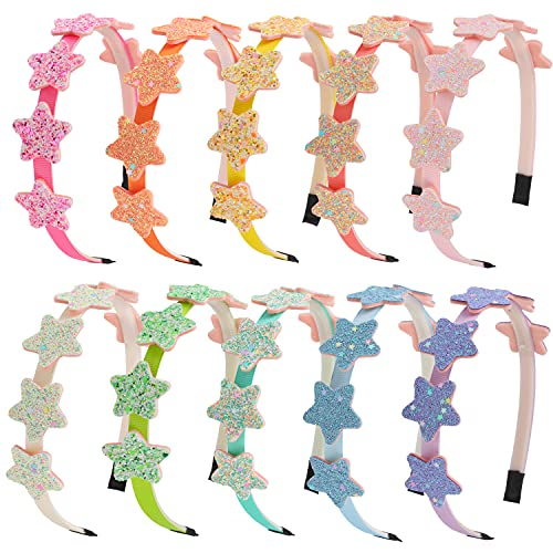 10 Pcs Girls Headbands Star Glitter Hairbands for Toddlers Bright Colors Rainbow Kids Head Bands