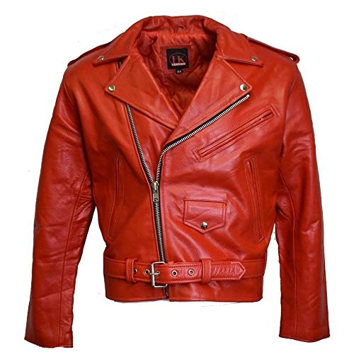 IKLeather MC Classic Men's Motorcycle Biker Jacket Black Genuine Leather (40, Red)