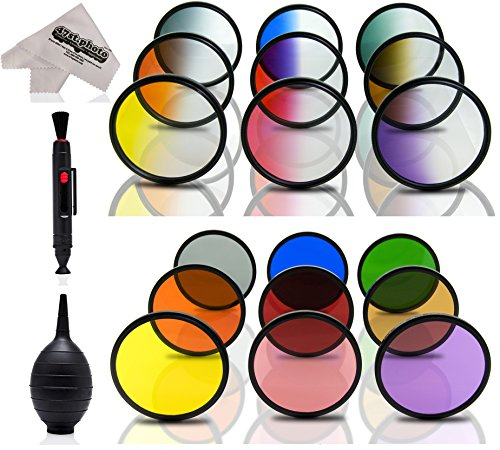 Opteka 19-Piece Graduated and Solid Color Filter Kit for Nikon D4s, D4, Df, D810, D800, D750, D610, D600, D7200, D7100, D5500, D5300, D5200, D3300 and D3200 Digital SLR Cameras (Fits 52mm and 67mm)