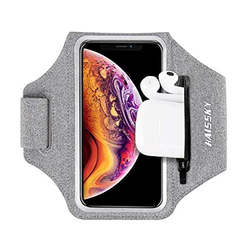 HAISSKY Sportarmband Mit Airpods Tasche Sportarmband Handytasche Sport für iPhone 12 Pro/11/11 Pro/XR/XS/X/8 Plus/7 Plus/8/7/6s/6,Huawei P20 Pro/P30 Pro/Mate 20 Xiaomi,LG Handyhülle Running Armband