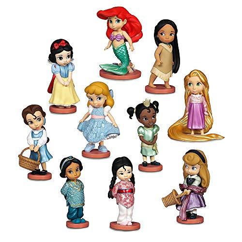 Disney Juego de figuritas de Lujo, Que Contiene Princesas moldeadas en plástico con Detalles de Purpurina en Sus Vestidos, Apto para Mayores de 3 años, 10 Piezas Animador