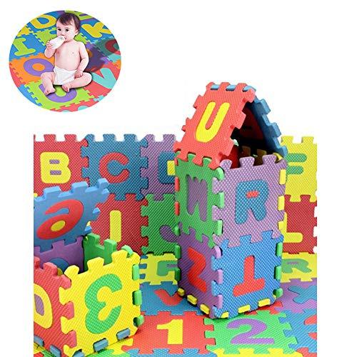 36 Pcs Alfombra Puzzle Infantiles 16x16 cm Niños 36 Piezas Numeros 0 al 9 y 26 Letras Alfabeto Goma Espuma