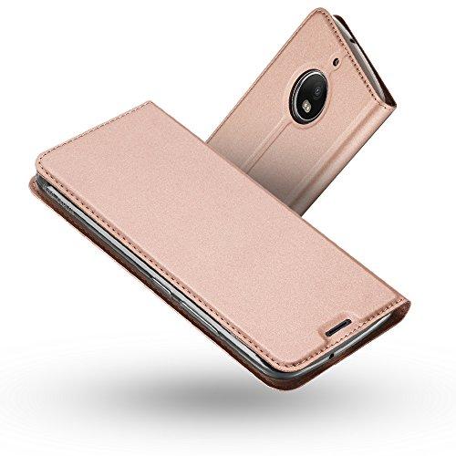 Radoo Moto G5S Plus Hülle, Premium PU Leder Handyhülle Brieftasche-Stil Magnetisch Klapphülle Etui Brieftasche Hülle Schutzhülle Tasche für Motorola Lenovo Moto G5S Plus (2017) (Rose Gold)
