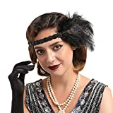 Vintage 1920s Flapper Headband Roaring 20s Great Gatsby Headpiece Accessories for Women Feather Hair Clip Black