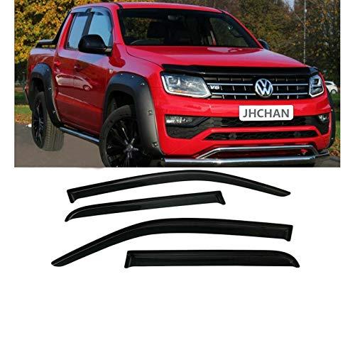 JHCHAN Windabweiser Regenabweiser für Volkswagen VW Amarok 2009–2020 Doppelkabine Wetterschutz Rauch schwarz