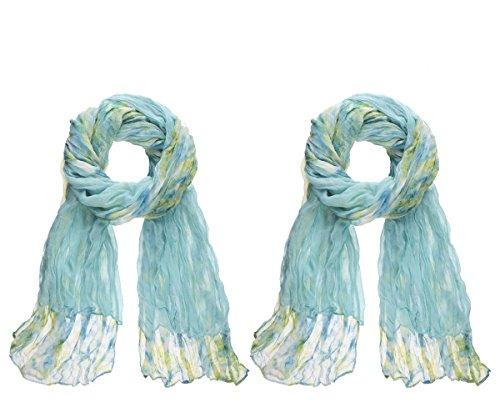 Ganz Style 101 Scarves Set of 2 (Teal Tie Dye)