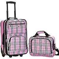 2-Piece Rockland Fashion Softside Upright Luggage Set (Pink Cross)