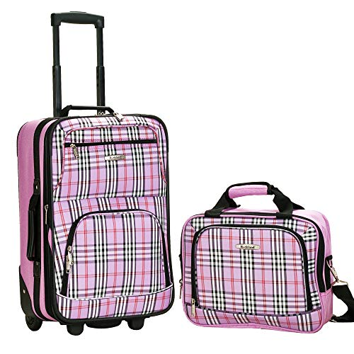 Rockland Fashion Softside Upright Luggage Set, Pink Cross, 2-Piece (14/20)