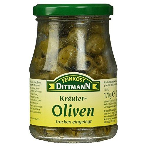 Feinkost Dittmann Kräuter Oliven, grün ohne Stein, 170g