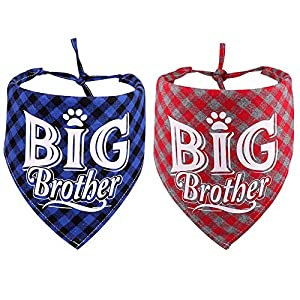 stpiater 2 PCS Plaid Big Brother Dog Bandana Triangle Bibs Scarf Accessories for Dogs Pets Cat