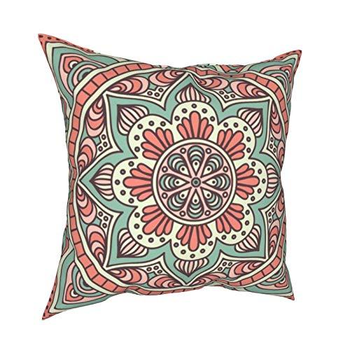 Funda de cojín con diseño de mandala bohemio en menta coral para decoración diaria, funda de cojín con cremallera, funda de almohada lumbar para regalo en casa, sofá, cama, coche, 45,72 x 45,72 cm