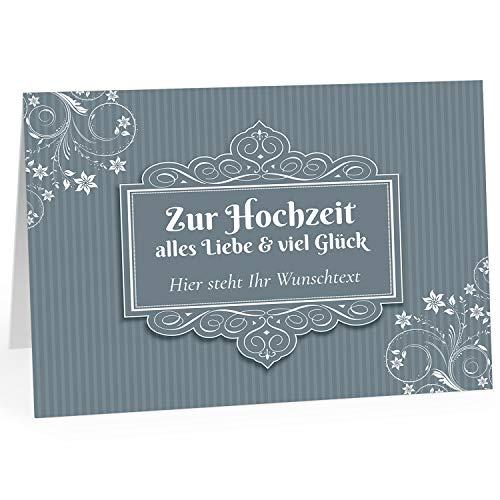 Große Glückwunschkarte zur Hochzeit XXL (A4) PERSONALISIERT - Grau Vintage Blumen - mit Umschlag/Edle Design Klappkarte/Hochzeitskarte/Glückwunsch/Ehepaar/Extra groß für viele Unterschriften