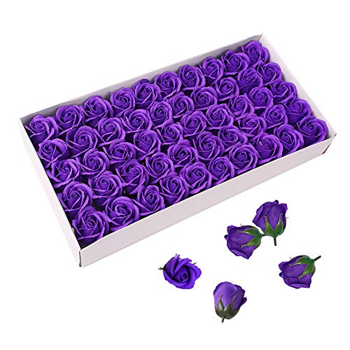 Caja de jabón de aceites esenciales perfumados con olor a rosa con diseño en forma de flor de Weiye, 50 unidades sin conservantes, regalo ideal para aniversario, cumpleaños, boda, día de San Valentín