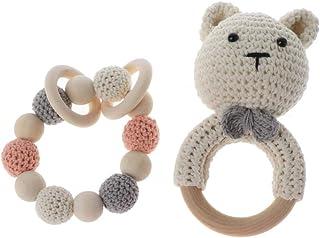 WE-HYTRE Mordedor Para Bebés,Conjunto De Pulsera De Mordedor De Madera Para Bebé Crochet Animal Dentición Sonajero Juguete Para Masticar