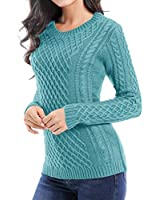 v28 Women Crew Neck Knit Stretchable Elasticity Long Sleeve Sweater Jumper Pullover (Medium, Jadeblue)