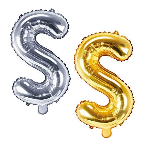 DekoHaus Folienballons Buchstaben / Zahlen Höhe 35 cm Farben: Gold oder Silber (S, Silber)