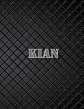Kian: 110 Pages 8.5x11 Inches Black Leather Journal Name Lettering, Journal Composition Notebook for All
