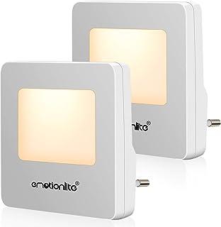 Luz Nocturna Infantil LED de Emotionlite con el Sensor de Atardecer a Amanecer Luz de noche para niños. Buena para la habitación de los niños, la escalera, el corredor. Blanco cálido, (Paquete de 2)
