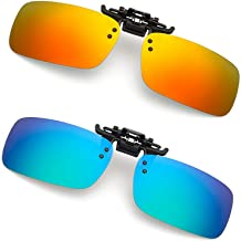Clip-on Sunglasses 2 Pack Polarized Lens Unisex Frameless With Metal Flip Up For Driving, Outdoor Sports & Holidays