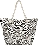 styleBREAKER Damen XXL Strandtasche mit Zebra Animal Print, Reißverschluss, Schultertasche, Shopper...