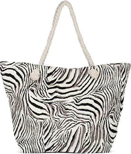 styleBREAKER Dames XXL strandtas met zebra dierenprint, rits, schoudertas, shopper 02012351