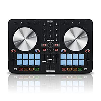 Reloop Beatmix 2 MK2 Two Channel Performance Pad DJ Controller with 16 Performance Pads, Integrated Audio Interface & Premium Aluminium Platters