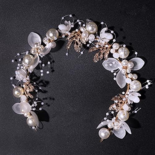 1pcs Bandeau Fleur de Cheveux couronne de Mariée Serre-tête Florale de Mariage en Alliage perle Cristal Headband Diademe Accessoires Coiffures de Cheveux pour Femme Mariée Demoiselles d'Honneur