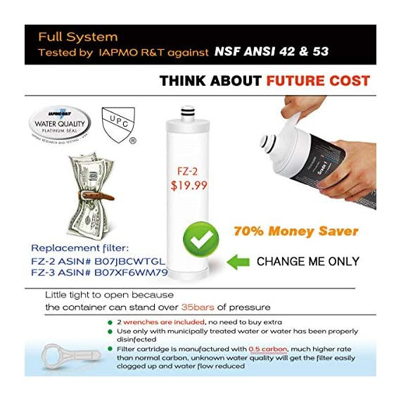 "Frizzlife under sink water filter system-nsf/ansi 53&42 certified high capacity direct connect under counter drinking water filtration system-0. 5 micron removes 99. 99% lead, chlorine, bad taste & odor 2 ✔two-stage advanced water purifier with 0. 5 micron: the frizzlife mk99 water filtration system includes a two-stage high precise compound filter, which has a unique technology that removes over 99. 99% of contaminants while leaving in all essential minerals. Reduces lead, heavy metals, chlorine, chromium 6, mercury, rust, volatile organic compounds, carcinogens, and other contaminants, such as turbidity, odors and bad tastes. Enjoy pure and healthy water from the tap. No more bottled water! ✔fits both 1/2"" and 3/8"" cold water line: super easy installation. Come with 3/8"" directly connect hoses that fit standard 3/8"" feed water valves under us kitchen sinks. The inline water filter system also comes with a 3/8"" to 1/2"" converter fittings that allow the system to directly install to the existing both 1/2"" and 3/8"" cold water line and faucet under your sink. Took less than 3 minutes and no plumbing required! New installation video available. ✔best auto shut off design: utilizing quick change twist-in installation design makes it take less than 3 minutes for you to install the system or doing a filter replacement. Provides quick twist connection for easy, tool-free, no mess filter replacement. The filter cap is designed with a built-in shut off valve. You don't even need to shut off the water supply whenever you work on the filter cartridge replacement."