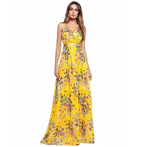Vestido largo amarillo con flores, elegante para fiesta y celebraciones