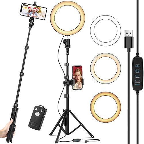 Eocean 8' Selfie Aro de Luz Led con 51' Soporte para Trípode actualizado y soporte para Teléfono celular para transmisión en vivo / Maquillaje, Mini cámara Anillo de Luz para YouTube Video / Tik Tok / Fotografía, Compatible con iPhone 12 pro / 11 / Xs / Max / XR / 8 / 7 Plus / X / Android