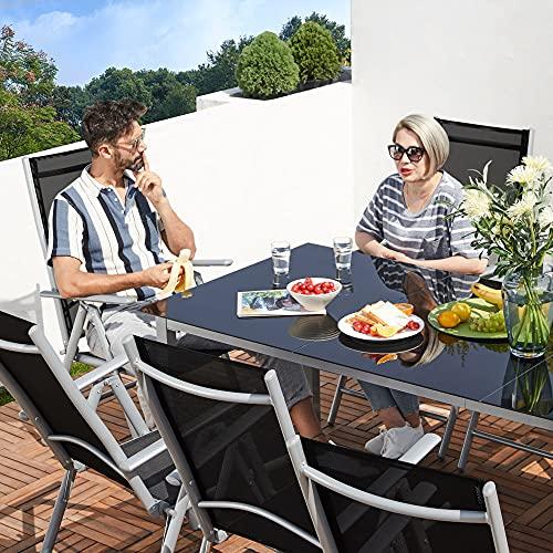Deuba Sitzgruppe Bern 8+1 Aluminium 7-Fach verstellbare Hochlehner Stühle Tisch mit Sicherheitsglas Silber Garten Set - 3