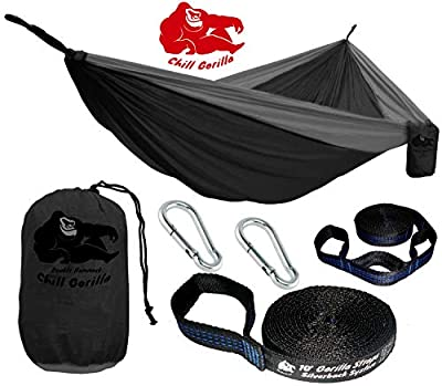 "Chill Gorilla Double Hammock with Tree Straps. Perfect for Backpacking Camping Travel Beach Yard. Easy Setup. 126"" x 78"" Lightweight Ripstop Nylon.Portable Camping Hammock"