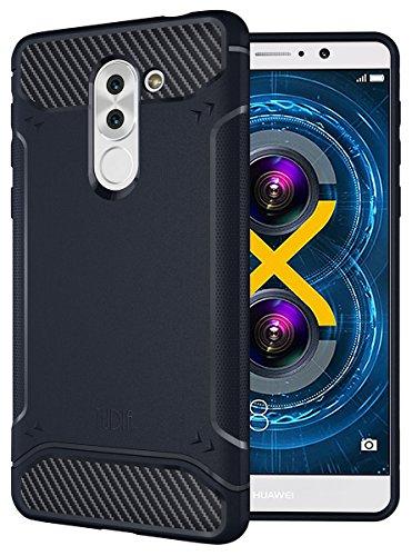 Honor 6X Case, TUDIA Carbon Fiber Design Lightweight [TAMM] TPU Bumper Shock Absorption Case for Huawei Honor 6X (Navy Blue)