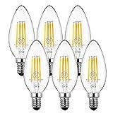 チラツキ少ない シャンデリア電球 E14 シャンデリア電球 40W形相当 ホタルスイッチ対応 電球色E14 LED電球 E14 LEDシャンデリア 密閉形器具対応 (6個入)