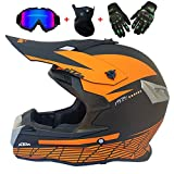Naranja Negro Casco de Motocross Hombre Casco de Cross Enduro ATV MTB Carrera en Bicicleta Casco Motos Descenso Deportivas Off-Road Racing Casco Infantil con Gafas/Máscara/Guantes,M
